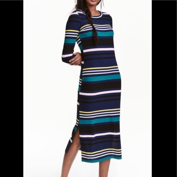 bd922107e58 H M Ribbed Knit Sweater Dress Long Sleeve Stripes